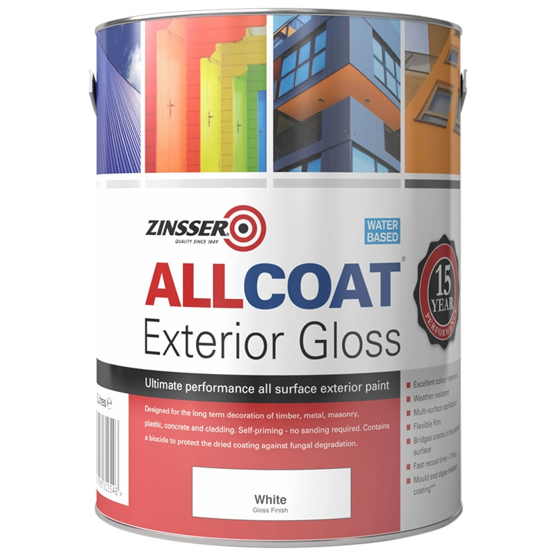 Zinsser allcoat exterior gloss rawlins paints multi for Exterior water based paint