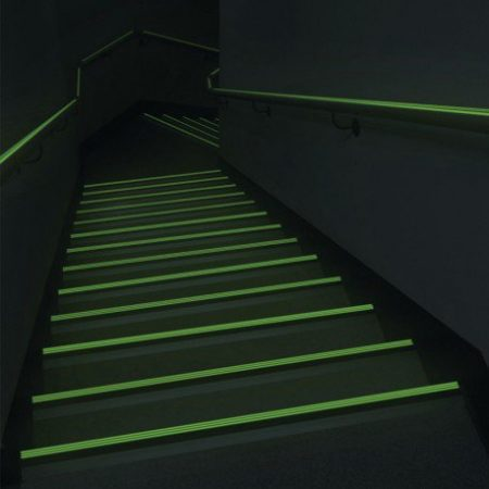 Luminous stair nosings for partially sighted people