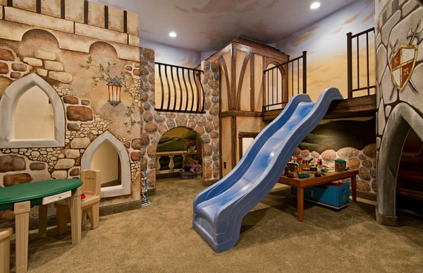 A converted basement is transformed into a kinds playroom