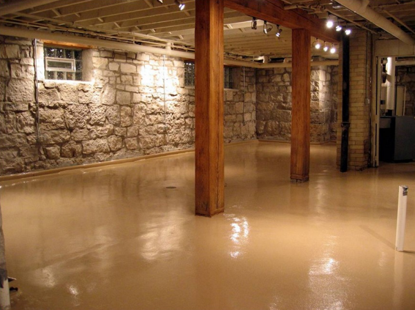 A freshly waterproofed basement and newly painted floor
