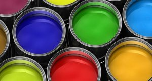 Range of different water based paint colours