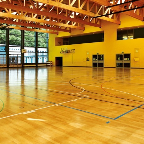 Polyurethane varnish being used on an indoor basketball court