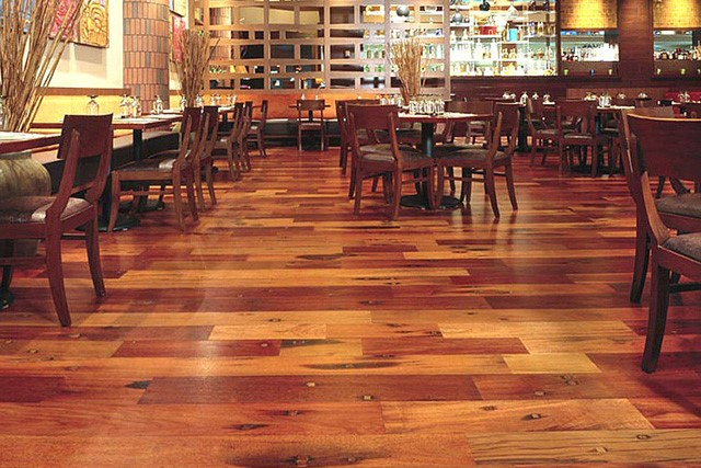 Polyurethane varnish being used on a restaurant floor
