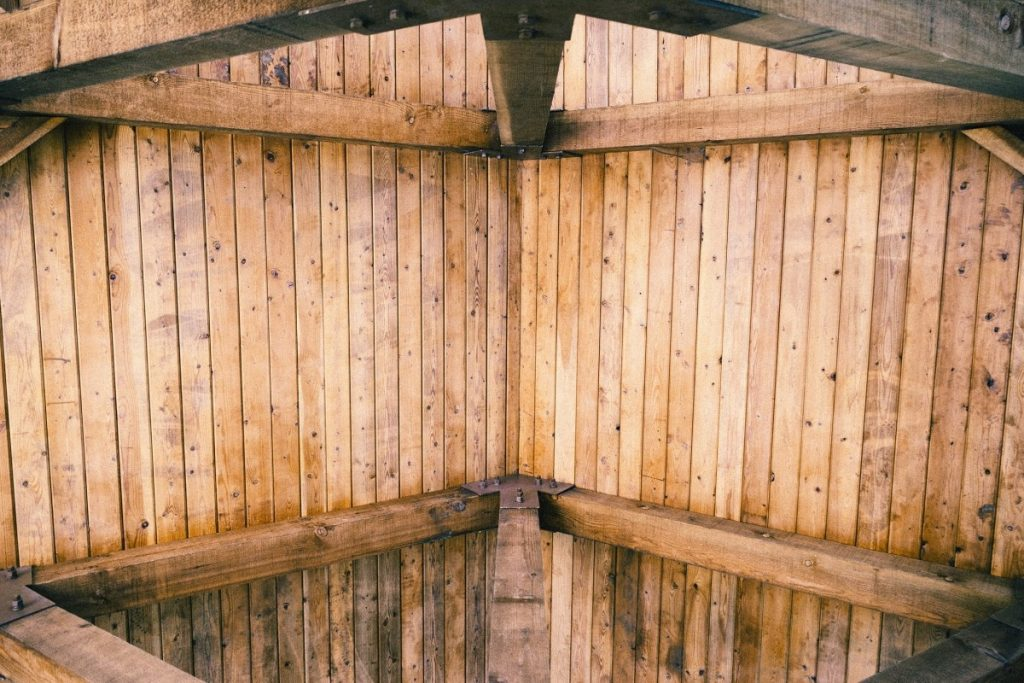 wooden beam and ceiling